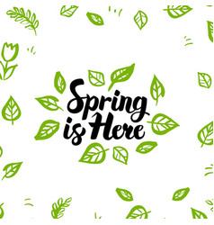 Spring is here greeting postcard vector