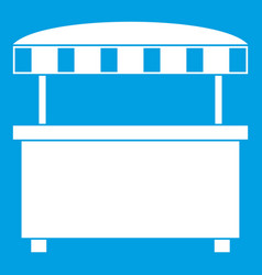 Street stall with awning icon white vector