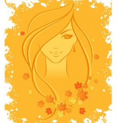 women autumn vector image