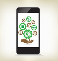 Environment cogwheel template in smart phone vector