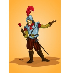 Handsome man conquistador with rose orange vector