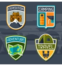 Set of tourist camping badge and label vector