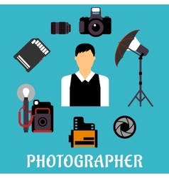 Photographer with equipment and items vector