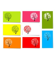 Tree floral cards vector