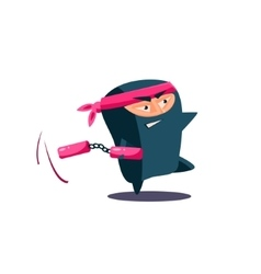 Cute emotional ninja with nunchaku vector