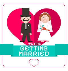 We are getting married flat design card on white vector