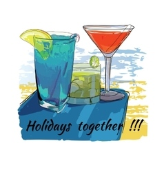 Cocktails set for beach holidays together hand vector