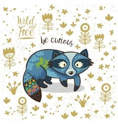 Cute indian raccoon with text be vector image