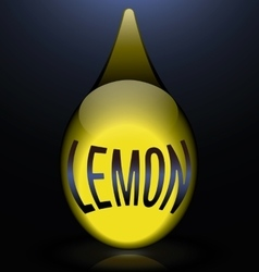 Glass drop reflection yellow text lemon vector
