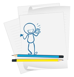 A paper with a sketch of a person holding a phone vector image vector image