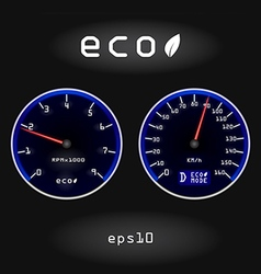Abstract car speedometer and tachometer on black b vector