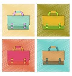 Assembly flat shading style icon school bag vector