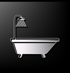 Bathtub sign gray 3d printed icon on vector