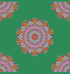 Boho style flower seamless pattern green neutral vector
