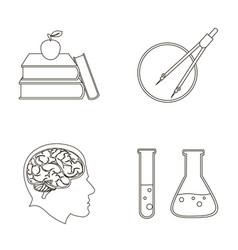 Books an apple a man s head with a brain test vector