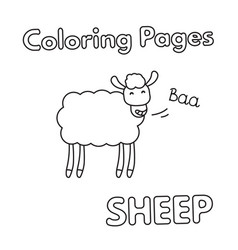 Cartoon sheep coloring book vector