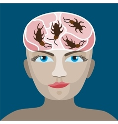 cockroaches in his head vector image vector image