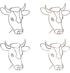 cow head lines logo vector image