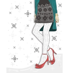 Cute winter fashion background vector