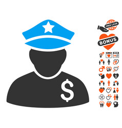financial policeman icon with valentine bonus vector image