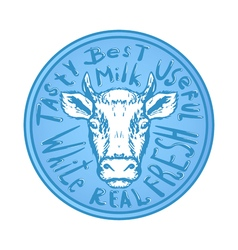 Fresh natural milk logo graphic with cow vector