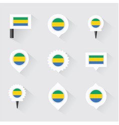 Gabon flag and pins for infographic and map design vector