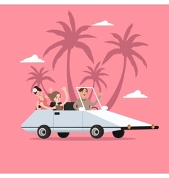 Group of people ride car open for travel holiday vector