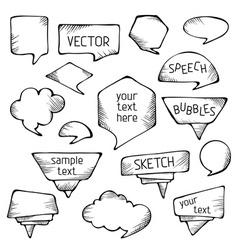 Hand-drawn pencil speech bubbles vector