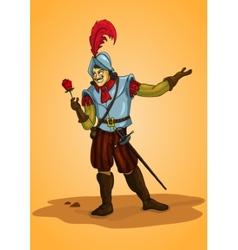 Handsome man conquistador with rose orange vector