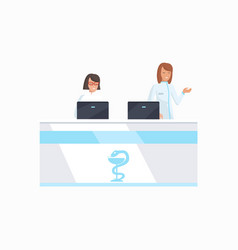 Hospital front desk icon vector