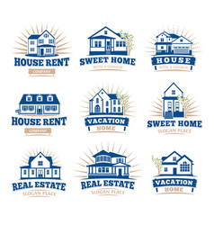 isolated blue color architectural houses icons for vector image vector image