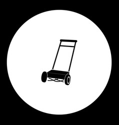 Lawn mover simple silhouette black icon eps10 vector