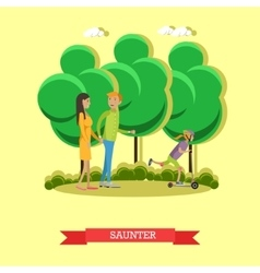 Leisurely walk with family in a park concept vector