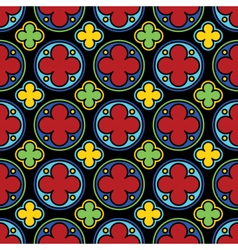 Medieval stained glass gothic seamless pattern vector image