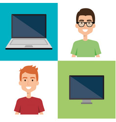 men with computers avatars vector image