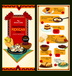 Mexican restaurant cuisine menu vector