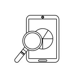 Mobile phone and pie chart statistics magnifier vector