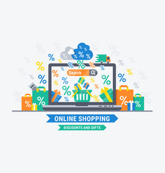 online shopping discounts and gifts vector image