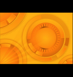 Orange geometric technology background with vector