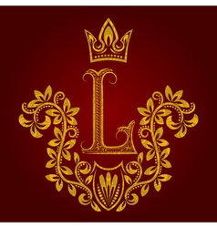 Patterned golden letter l monogram in vintage vector