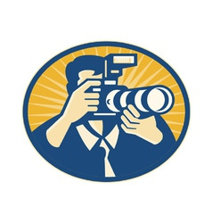 Photographer dslr vector