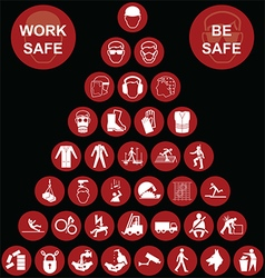 Red pyramid health and safety icon collection vector