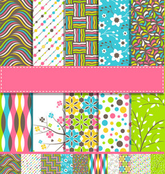 Set of 10 seamless bright fun spring patterns vector