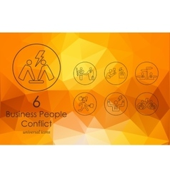Set of business people conflict icons vector