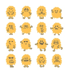 Set of hand drawn cartoon smiley monsters vector