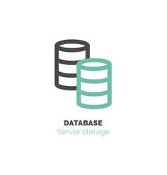 simple icon of database flat bicolor line design vector image vector image