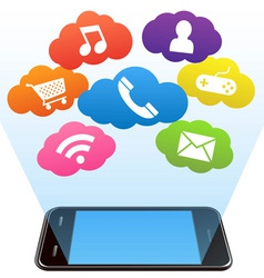 smart phone and apps vector image vector image