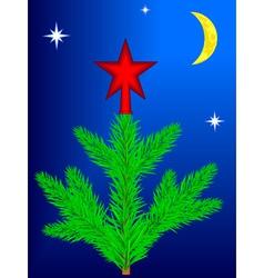 Star on Christmas tree vector image vector image