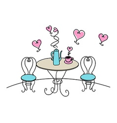 Table and chairs with hearts on white background vector