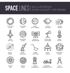 Thin lines icons stars in galaxy design vector